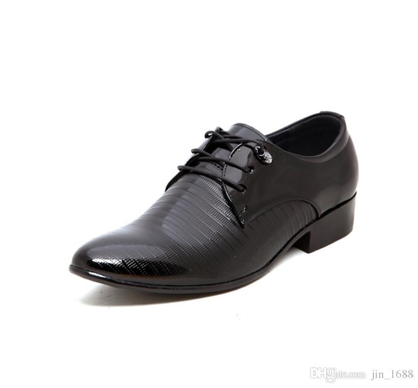 Zapatos de cuero de los hombres de negocios Pisos Marca Oficina juego masculino Diseño Zapatos de vestir Hombres Hombres Oxford Calzado formal