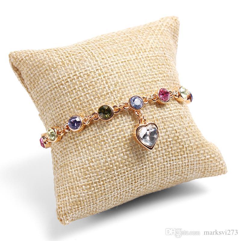 Contenitore di gioielli di fascia alta di lino Braccialetto di orologio Vassoio di gioielli Display Stand Supporto Boutique di stoccaggio di gioielli 12 Grid Piccolo vassoio cuscino