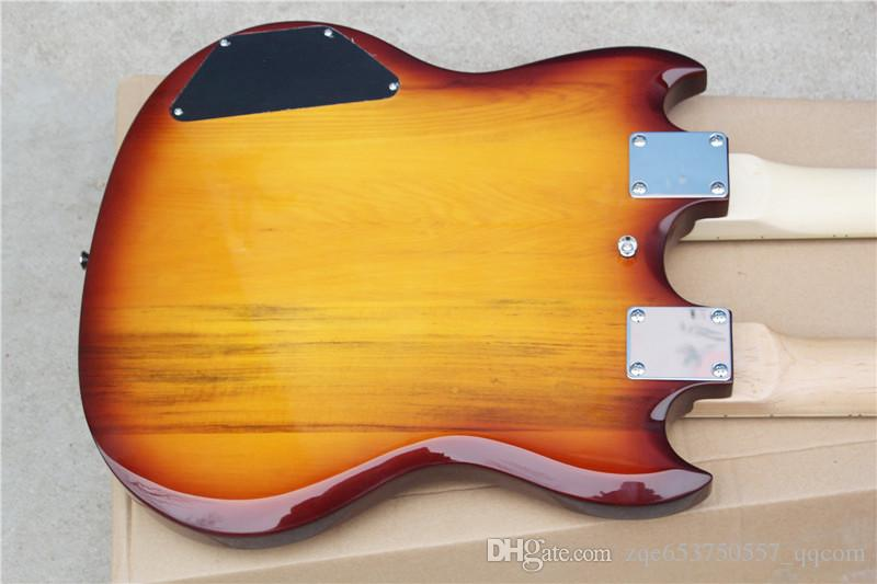 Two-neck 12-string and 6-string Electric Guitar,Tobacco Sunburst Body,Black Pickguard and Can be Changed ad Request
