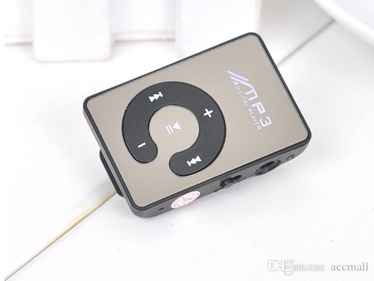 Mini Clip Mirror MP3 Digital Music Player with Micro SD TF Card Slot C Shape Sports MP3
