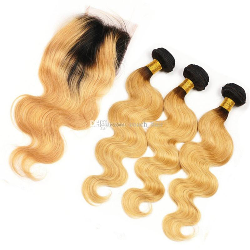 8A Grade #1B/27 Honey Blonde Ombre Hair Bundles with Lace Closure Dark Roots Strawberry Blonde Body Wave Ombre Hair Weaves with Closure