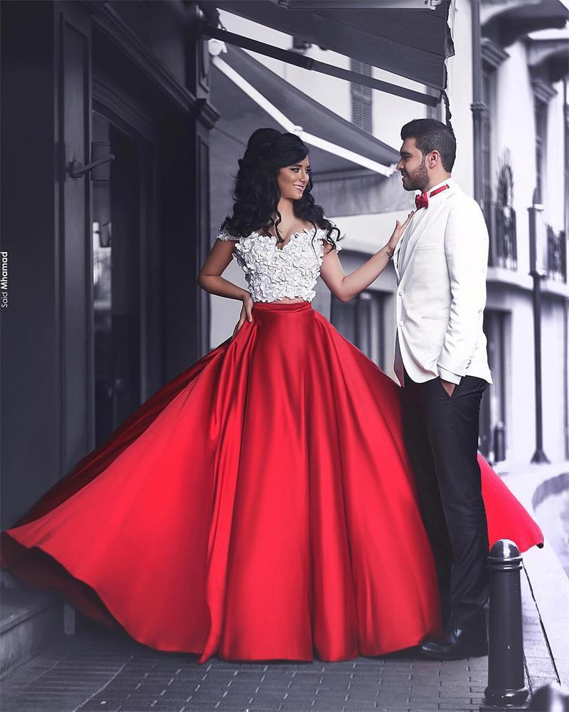 Red And White Formal Dresses: White Red Two Pieces Prom Dressess Flower Lace Off