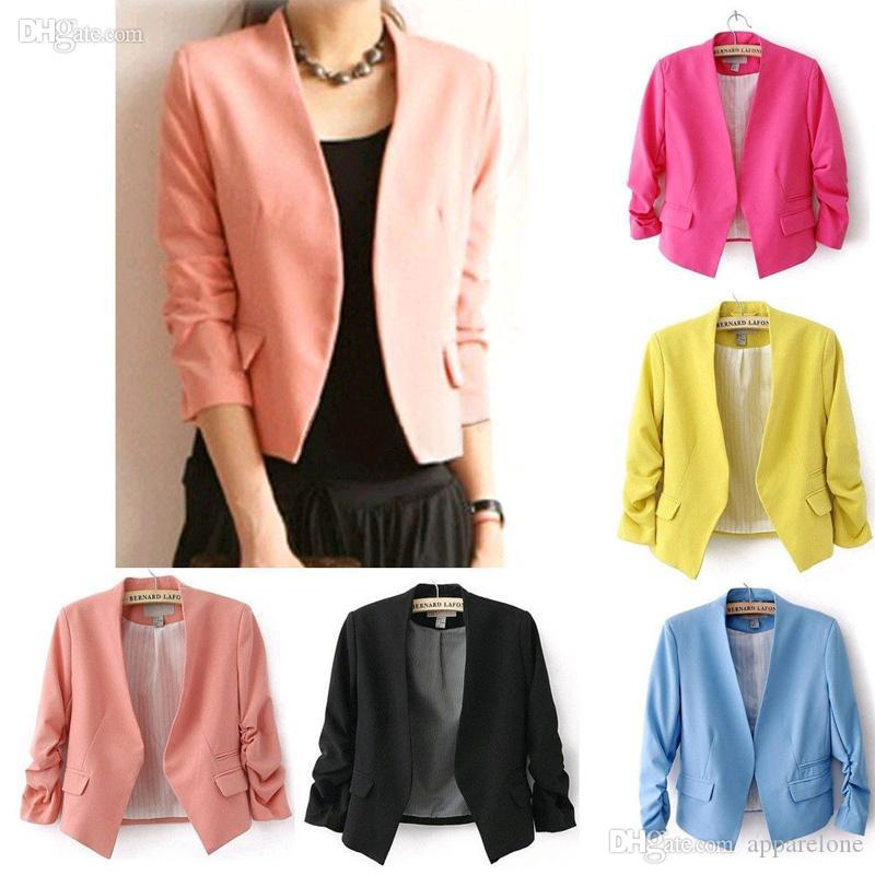 6d7f650bb1 2019 Wholesale Blazer Feminino 2015 Chaquetas Mujer New OL Work Candy Color  Thin Outerwear Coat Casual Mini Short Blazer Women Suit Jacket 7342 From ...