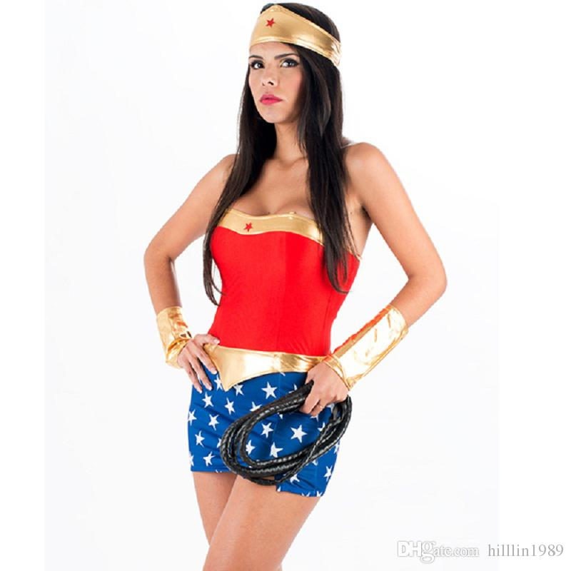 Classic Sexy America Movie Wonder Woman Fancy Dress Halloween Costume Uniform Temptation Famous Super Heroine Costume W From Hilllin