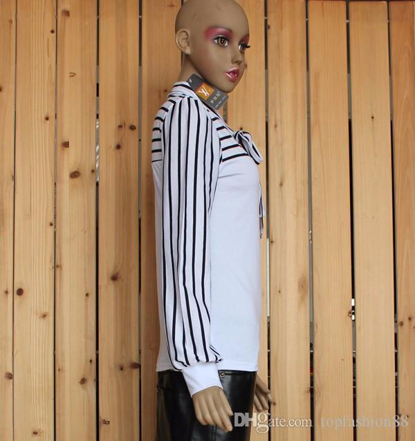 여성을위한 크기 S-XXL 패션 스트라이프 긴 소매 T 셔츠 2016 새로운 블랙 화이트 보우 칼라 티 셔츠 탑