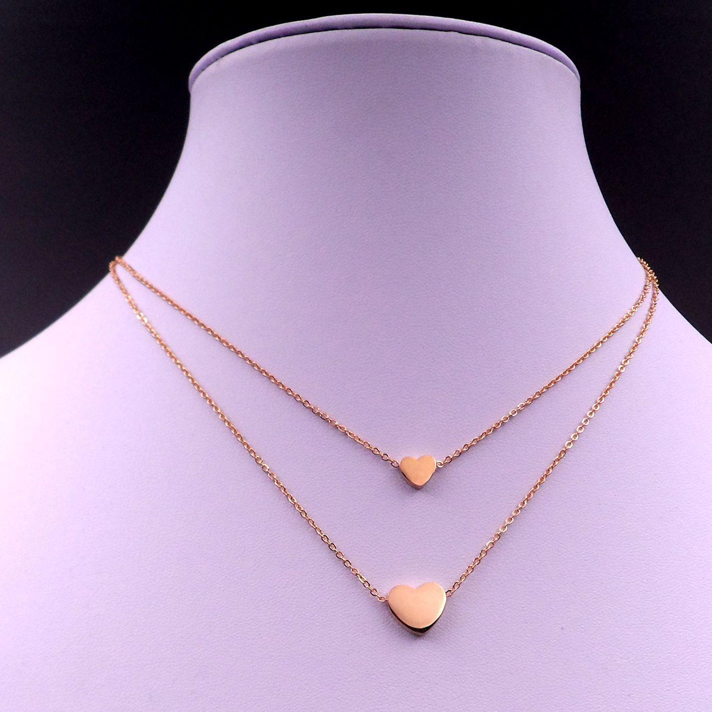 Freies verschiffen Nizza design SCHMUCK freies verschiffen Gold Edelstahl Sweet Double Heart Anhänger Kette halskette Geschenk für Frauen Mädchen 20 zoll
