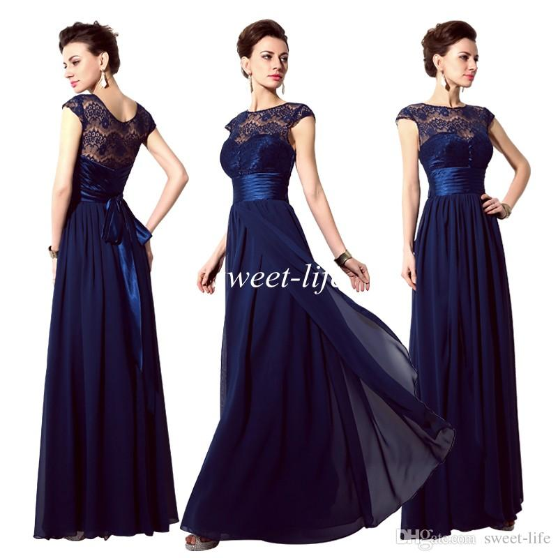Navy blue lace evening dress with sheer long sleeves