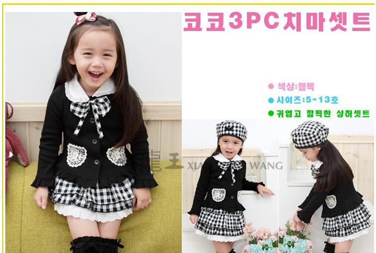 Ücretsiz kargo çocuk üç parçalı takım 3 adet kızlar çocuklar kıyafet ilmek Coat Ekose Etek Şapka elbise set okul giysileri çocuk giyim