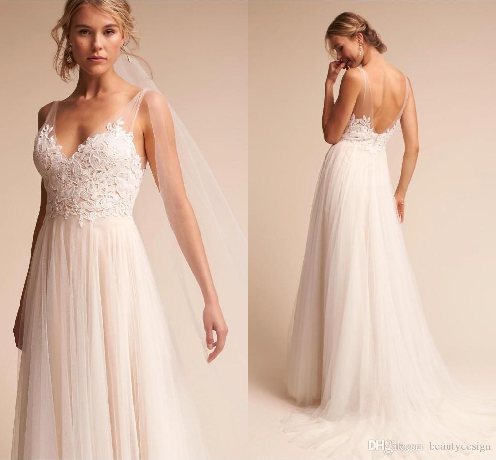Designer Wedding Gowns Cheap: 2018 New Cheap Ivory Lace Tulle Country Wedding Dresses A