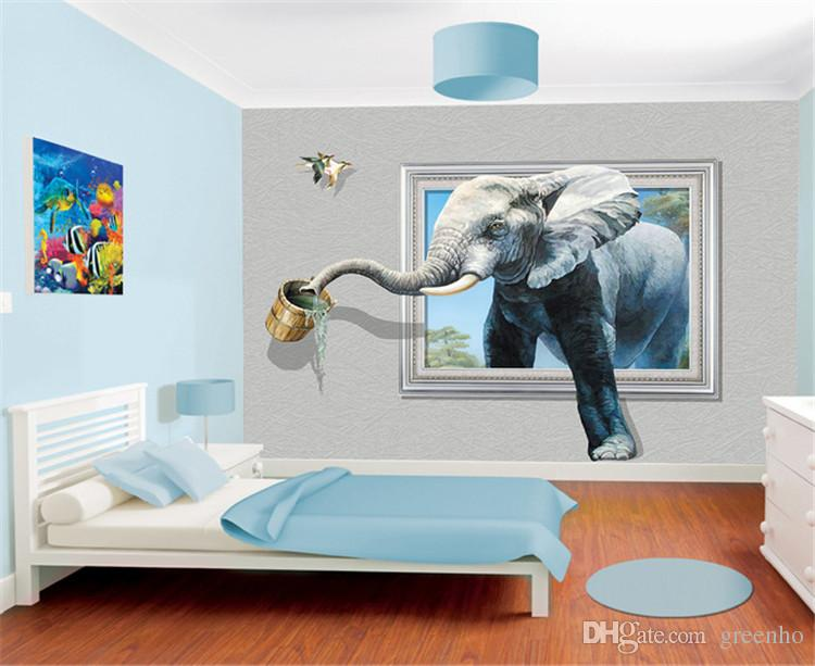 Creative 3d photo wallpaper wall mural elephant animal for Wallpaper home wall