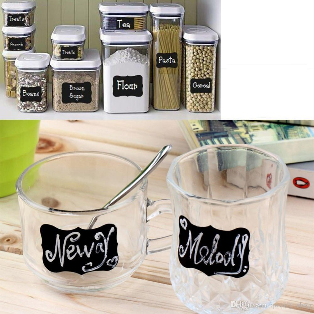 9*5.5cm Blackboard Sticker Craft Kitchen Jar Organizer Labels Chalkboard Chalk Board Stickers Black