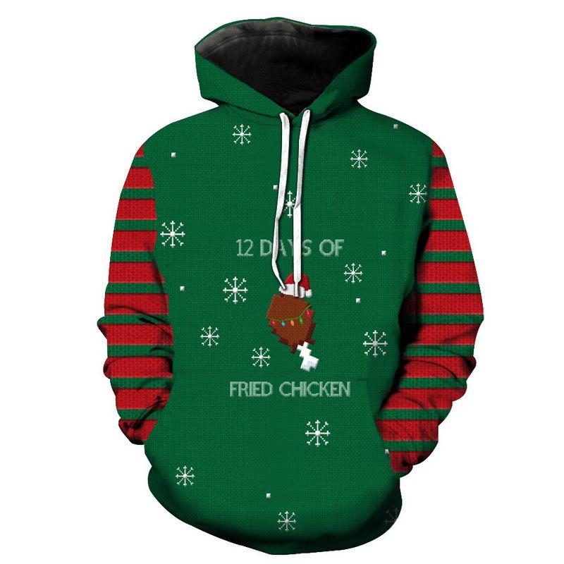 Winter Christmas Pullover Hoodies Women Men 3D Sweatshirts Pug Snow Tree Hat Deer Cat Dog Santa Claus Brand Clothing Hoodie Plus Size 6XL