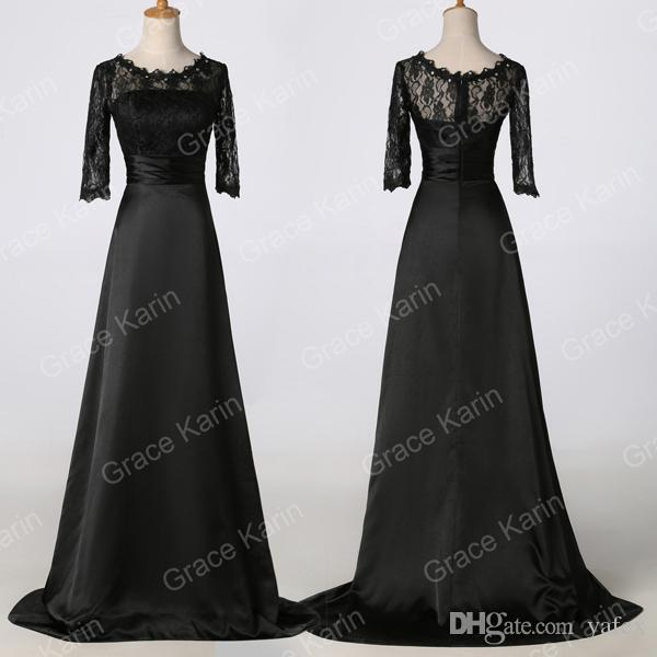 Grace Karin 3/4 Sleeve Black Formal Prom Mother Of Brides Party Long ...