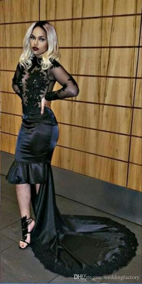 Sexy durchsichtig abendkleid schwarz kleid high neck spitze appliques langen ärmeln illusion zurück high low sheer mieder party kleider nach maß