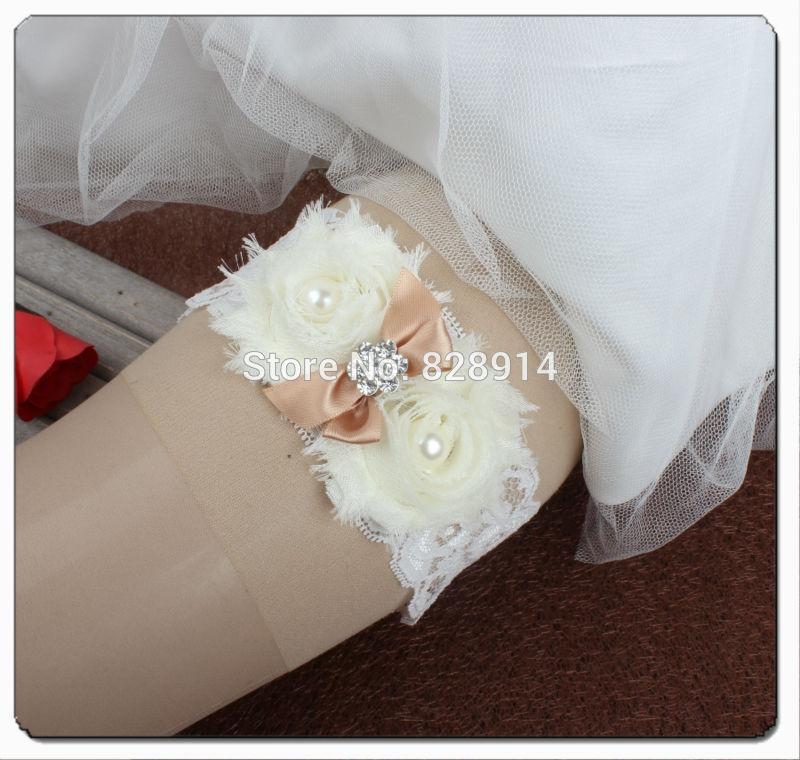 Слоновая кость потертый шифон цветок свадьба кружева подвязки со стразами шарм и ленты лук ручной работы