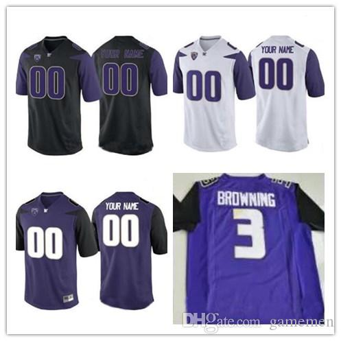 Mens Custom Washington Huskies College Football Limited Black Purple ... cbdbb6104