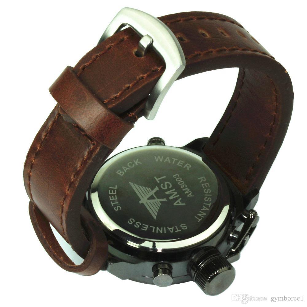 New Arriva AMST Unique Vogue Men Swimming Digital LCD Quartz Outdoor Sports Watches Relogio Masculino Clock Handmade Leather Canvas Strap