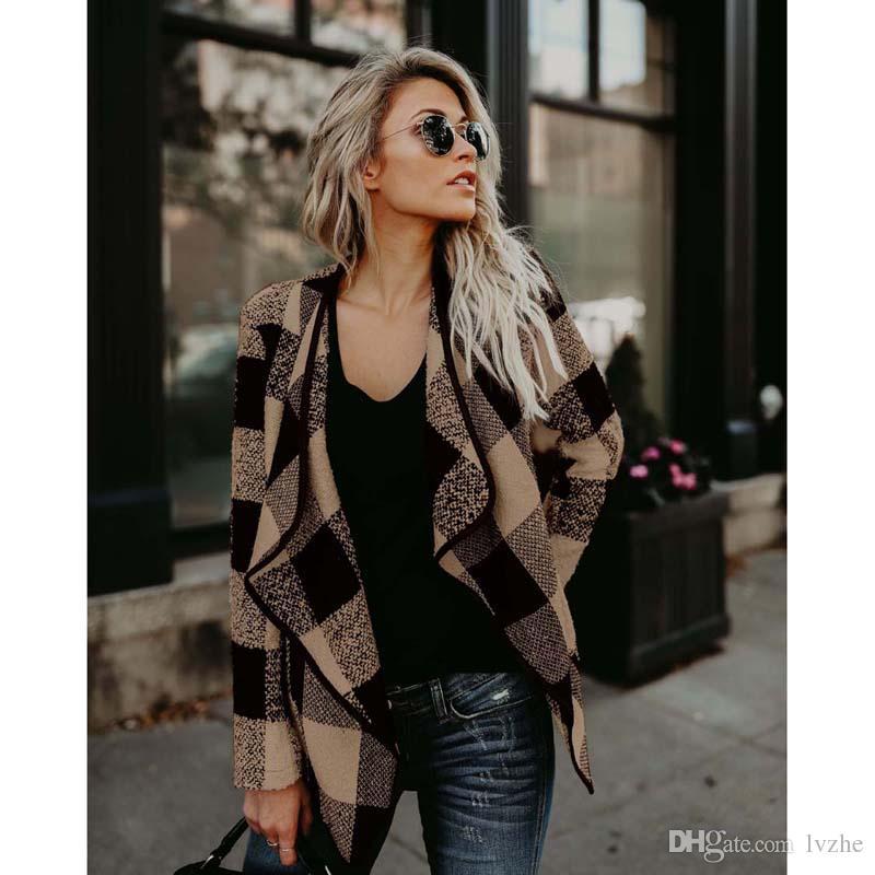 Новые Женские Дамы С Длинным Рукавом Плед Кардиган Повседневная Куртка Пальто И Пиджаки Топы 3 Цвета 4 Размер