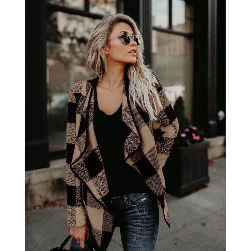 Nouveau Femmes Dames À Manches Longues À Carreaux Cardigan Casual Veste Manteau Outwear Tops 3 Couleurs 4 Taille