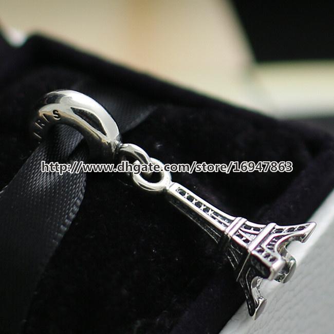 Высокое качество Эйфелева башня мотаться Шарм S925 стерлингового серебра шарик подходит Европейский Pandora ювелирные изделия браслеты ожерелья кулон