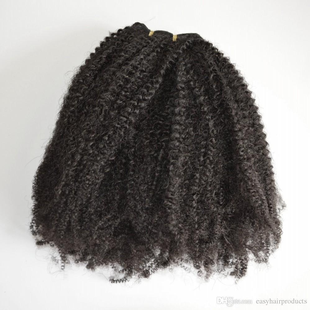 Mongol Cabelo Virgem Africano Americano afro crespo grampo de cabelo encaracolado em extensões de cabelo humano natural preto clips ins G-EASY