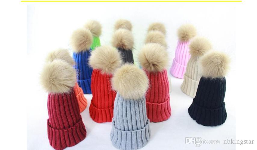 876ec06d317e4 Winter Knitted Beanie Hat With Fur Ball Women Headgear Lady Girl Casual Pom  Hat Trucker Hats Winter Hats From Nbkingstar