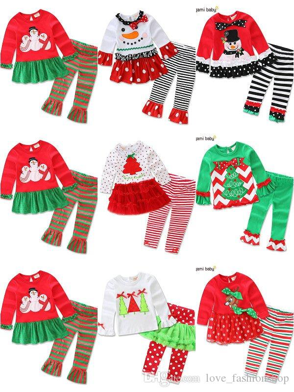 d329f376d 7 Styles Baby Girls Boys Christmas Outfits SetTshirt+Pant Children ...