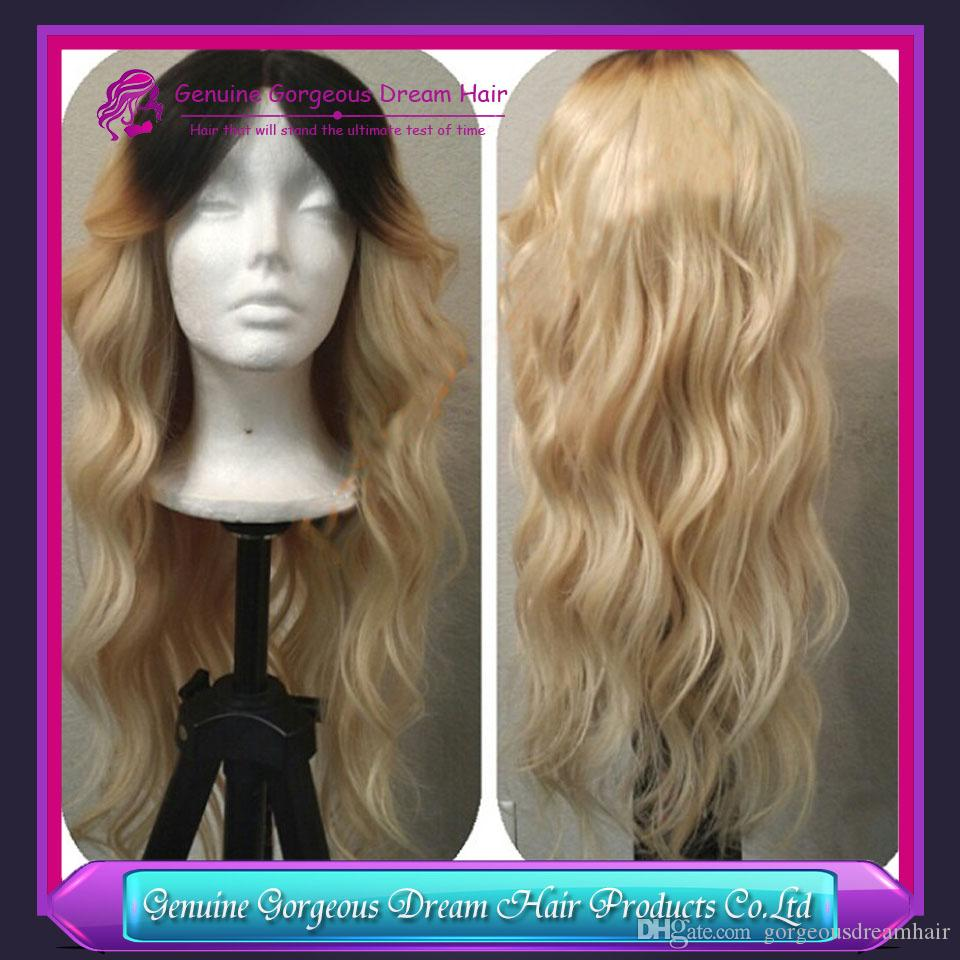 Blonde wig dark roots #1BT613 body wave texture 22 24inch fast ship middle part sew in full lace wigs blonde human hair wig
