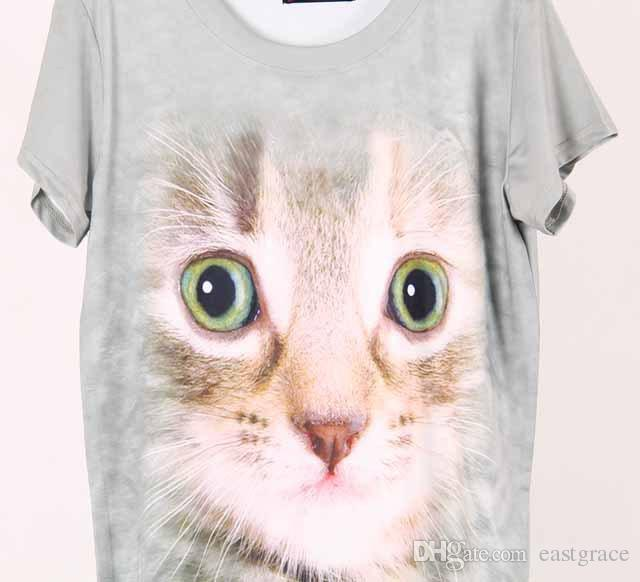 뜨거운 스타일의 티셔츠 귀여운 만화 고양이의 유럽 스타일의 큰 가게 기호 모델은 3D 인쇄 둥근 칼라는 숙녀를위한 티셔츠 뜨개질을 설정합니다