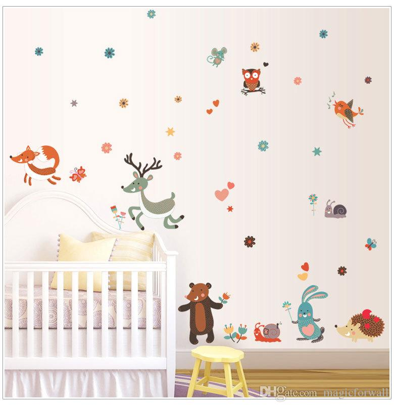 New Cute Cartoon Little Animals Party Wall Art Decor Stickers-- Lovely Owl Deer Mouse Bunny Squirrel Snail Birds in the woods Wall Art Mural