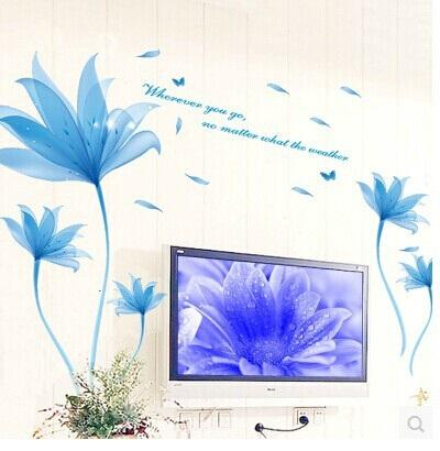 120150cm large new blue flower wall sticker removable vinyl decals stickers home decoration wallpaper fashion poster free shipping