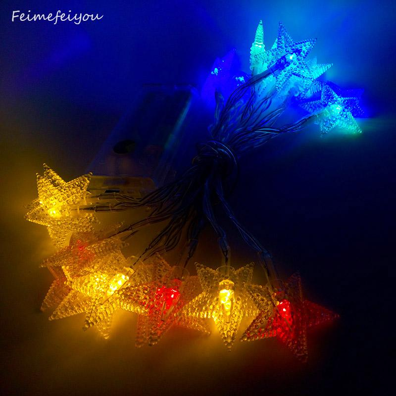 wholesale feimefeiyou 2m 20leds battery operated string fairy lights led star flower outdoor christmas tree decorations garland decor c9 led christmas light