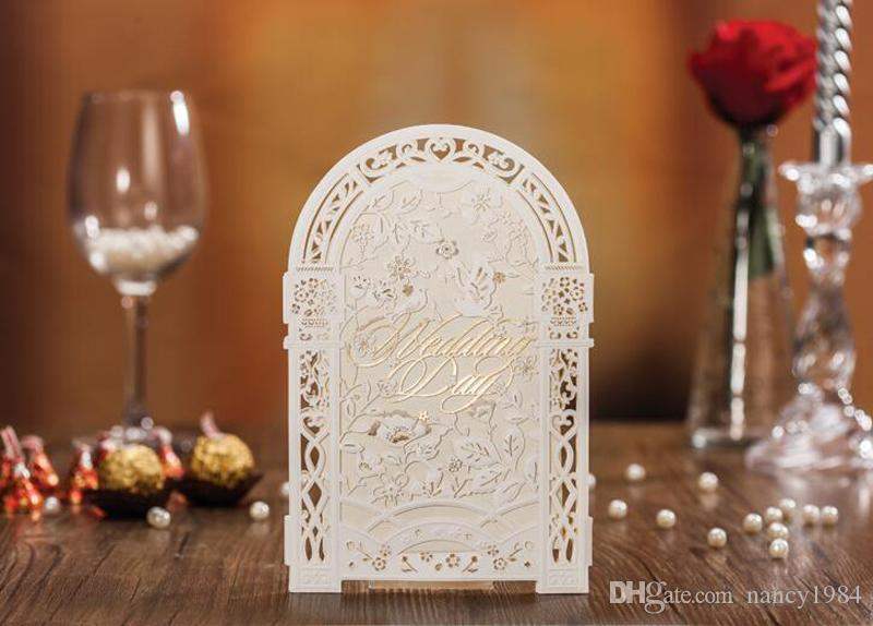 2019 Weddding Invitation Card Elegant Laser Cut White Paper Event Party Supplies Decoration Groom and Bride Floral Invitations