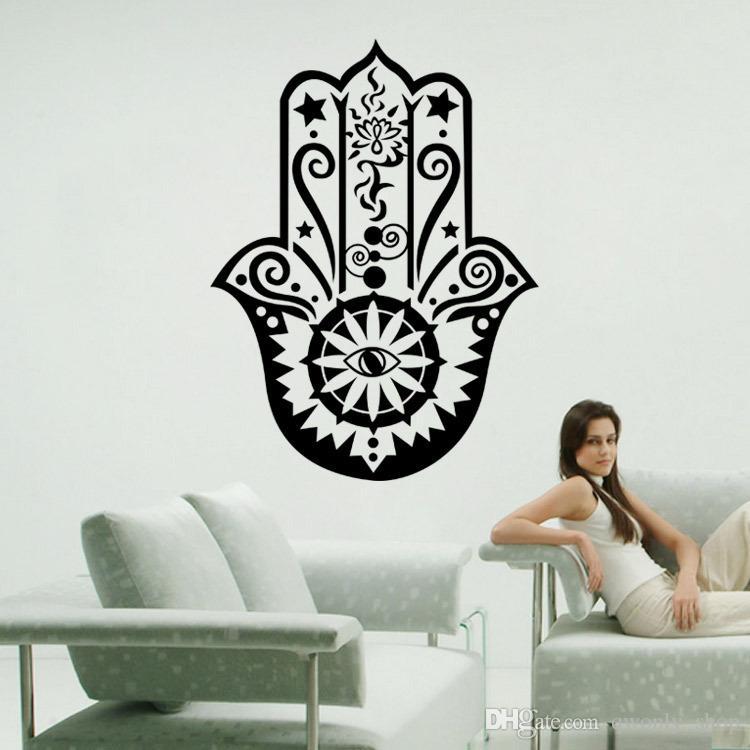 Art Design Hamsa Hand Wall Decal Vinyl Fatima Yoga Vibes Sticker Fish Eye Decals Indian Buddha Home Decor Lotus Pattern Mural