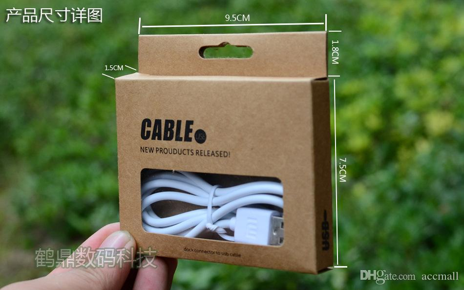 95 * 75 * 15mm Universal USB Laddare Cord Craft Kraft Paper Packaging Box Retail Paket för Samsung S4 Notera 3 iPhone 6 5 Sync Data Cable 1m 3FT