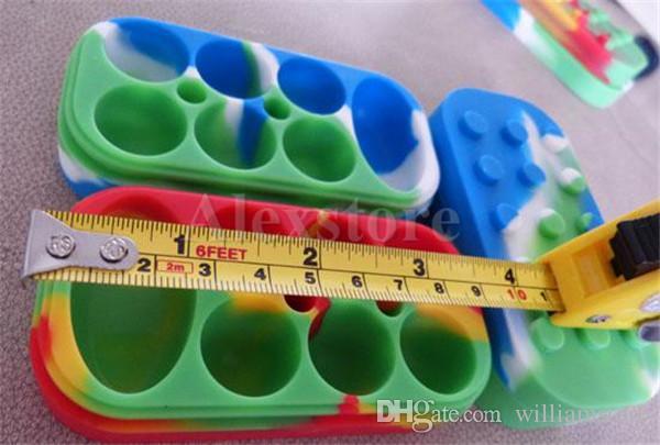 Recipientes de Cera antiaderente 6 + 1 caixa de silicone grande cera pode recipiente De Silicone Colorido frascos de cera antiaderente dab armazenamento jar óleo vape caneta titular
