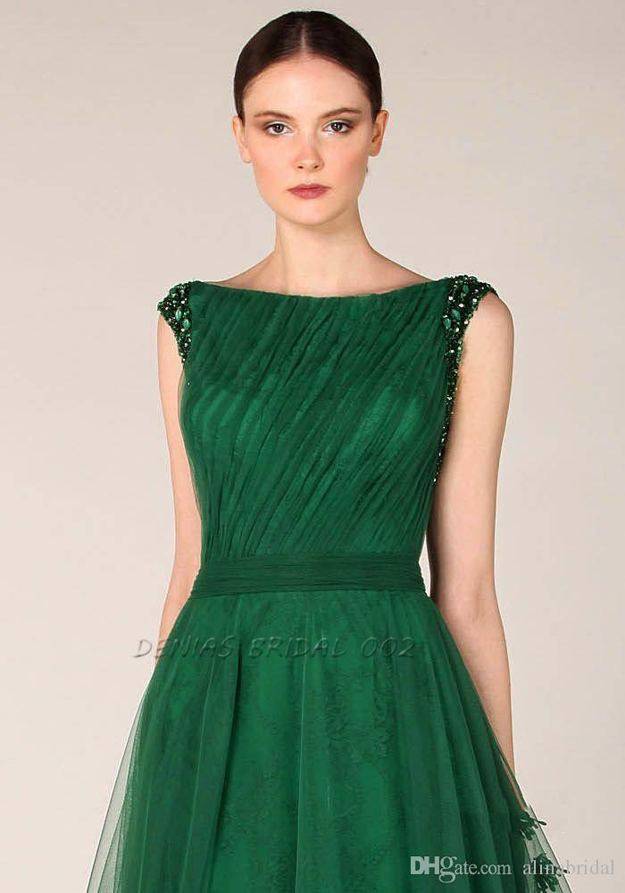 Emerald Green Prom Dresses Formal Evening Gowns Bateau Neckline Cap Sleeves Tulle Appliques Flora Wedding Party Dress