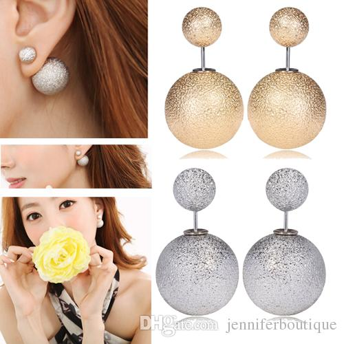 crystal best womens two earrings side trendy on stud ball images jewelry moonielicious pinterest double sided