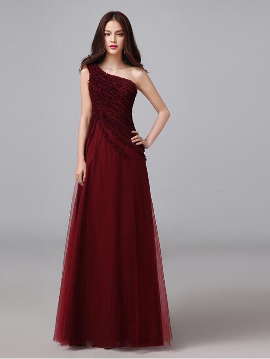 Burgundy Formal Evening Gown One Shoulder Pleats A Line Long Women ...