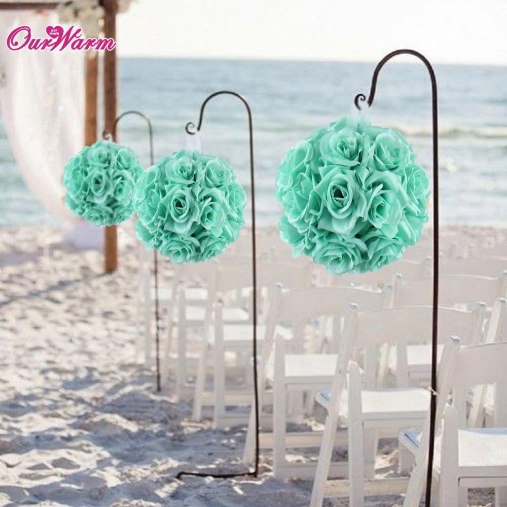 4pcs 18cm 7inch Silk Ribbon Rose Flower Ball Artificial Pomander Bouquet Kissing Wedding Centerpiece Decorations