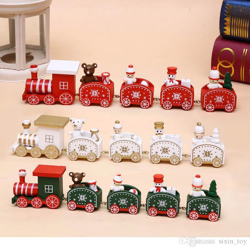 25cm Cute Wood Christmas Train Model Toy Decoration Decor Gift Onarment Xmas Gift Santa Clause Snowman Toys For Kids