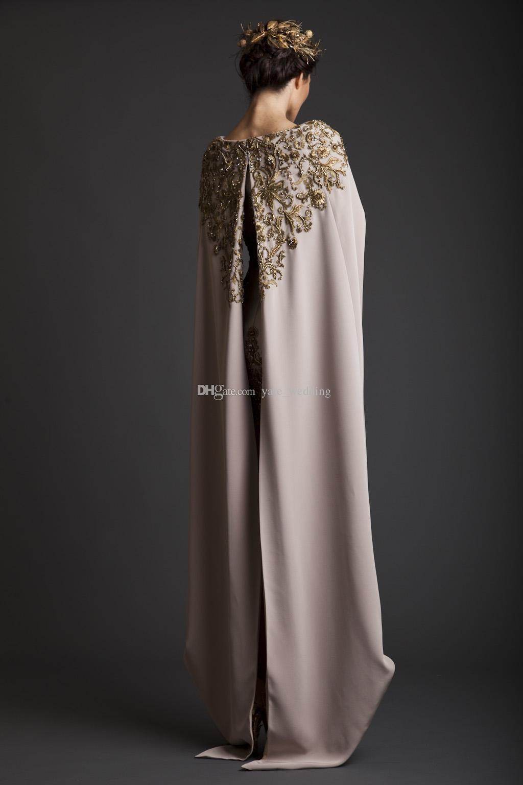 2017 Vintage Krikor Jabotian vestidos de noche vaina larga separada del cabo bordado satinado corto Champagne vestidos de baile