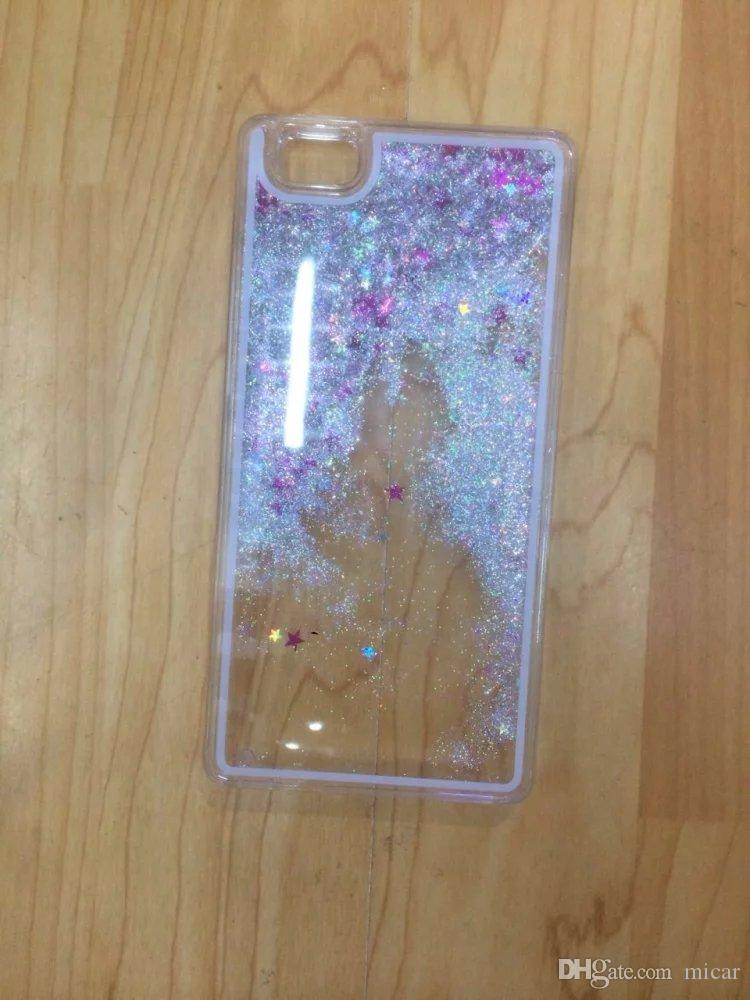 For Huawei P8lite P8 Lite Colorful Moving Stars Liquid Glitter Quicksand 3D Bling Phone Case Cover For Apple Iphone 6 iphone5/5S Shining