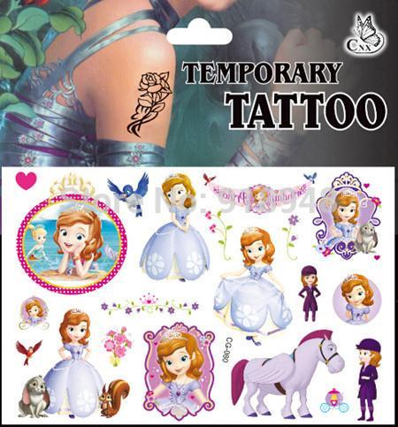 Sofia the first princess tattoo stickers for girls kids for Sofia the first tattoos