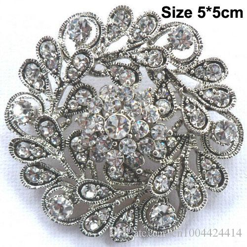 Bling Bling Clear Austria Crystals Vintage Fashion Round Flower Women Party Jewelry Decoration Brooch Bridal Bouquet Pin