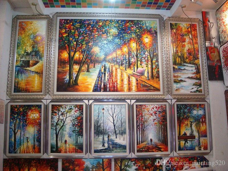 100% Hand Paint modern palette knife landscape oil painting on wall art canvas high quality home decor JL045
