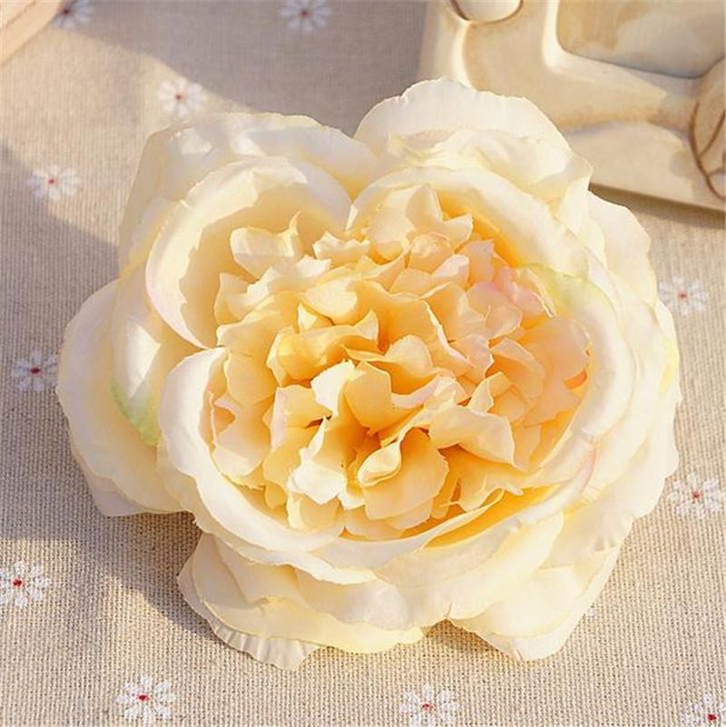 Silk Rose Flower Head Dia. 10cm/3.94 Artificial Flowers Oil Painting ...