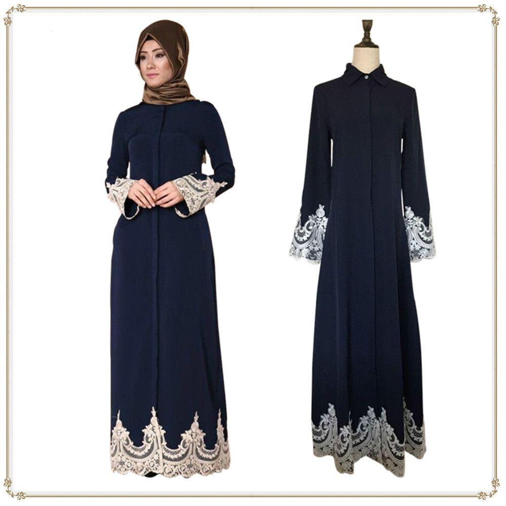 959c6423f Compre Vestido Largo Musulmán Musulmán Del Cordón De Las Mujeres De La Ropa  Árabe De Las Mujeres A  32.17 Del Ilovefashion