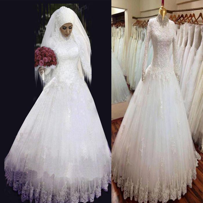 Muslim Wedding Gown Photos: Discount 2015 Long Sleeve Muslim Wedding Dresses With