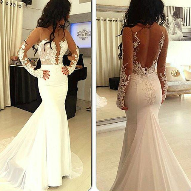 2016 Lace Sheer Illusion Mermaid Wedding Dresses Long Sleeves Sweep Train Open Back Bridal Gowns Plus Size Custom Made Top Selling